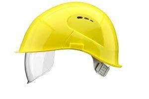 VOSS Schutzhelm VisorLight schwefelgelb Polyethylen EN 397 mit Kinnriemen Rindkernleder mit Schiebeschnalle