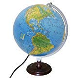 Replogle Toledo Blue Ocean Illuminated Desktop Globe with Hardwood Cherry Finish Base