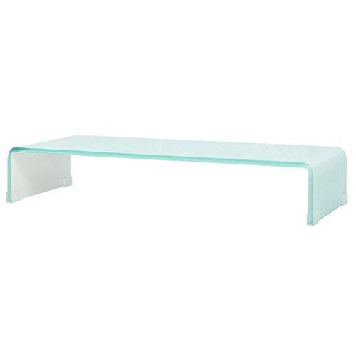 vidaXL TV-Glasaufsatz Tisch Monitor Erhöhung Glasbühne Podest Weiß 70x30x13 cm