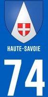 2 Stickers département style Plaque Immatriculation Haute-Savoie 74