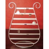 Table Top Jewelry Earring Display Holder Rack Stand Silver Metal Harp