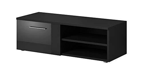 E-Com TV-Schrankständer Vegas Korpus matt schwarz Fronten Hochglanz schwarz (90 cm)