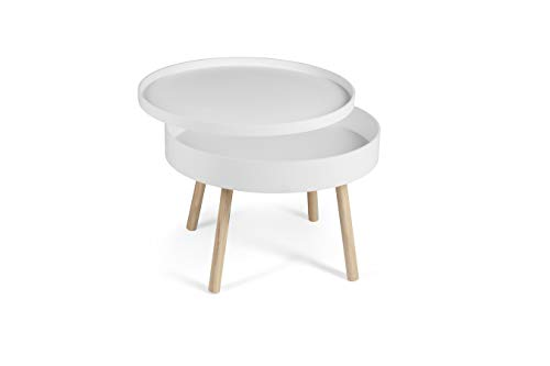 LIFA LIVING Runder Couchtisch mit Stauraum aus MDF-Holz   Beistelltisch mit abnehmbaren Deckel für Wohnzimmer und Schlafzimmer   60 x 60 x 44 cm (Weiß)