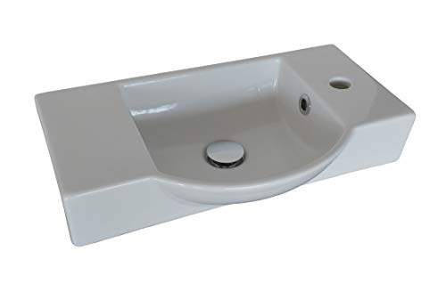 FACKELMANN Keramikbecken Gäste-WC/Waschtisch aus Keramik/Maße (B x H x T): ca. 54,5 x 10,5 x 32 cm/hochwertiges Becken fürs Badezimmer und WC/Armatur rechts/Farbe: Weiß/Breite: 54,5 cm