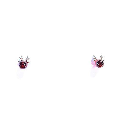 E-H Crystal_925 Silber Nadel Geweih Weiblichen Kleinen Hirsch Weihnachten Stilvolle Einfachheit Ohrringe Süßes Mädchen Herz Kleinen Frischen Rosa Kristall -