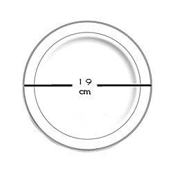20 assiettes en plastique rigide blanc liseré argent Ø 15 cm