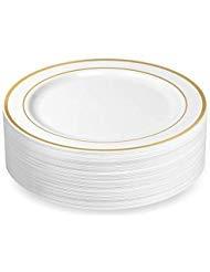 BloominGoods Einweg-Teller, Kunststoff, Weiß mit goldfarbenem Rand 10.25 in. Dinner Plates White/Gold Rim Rim Dinner Plate