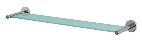 Spirella Wand-Glasablage NYO Badezimmerablage Ablage Wandablage für das Badezimmer aus Glas und Edelstahl 60cm - zum kleben und bohren (Am Dusche Morgen)