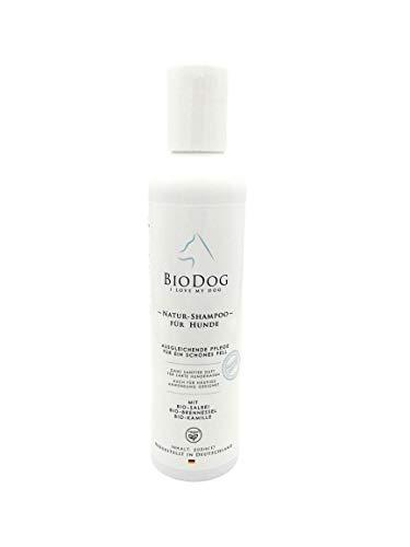 Bio Hundeshampoo zur sanften Natur-Fellpflege mit Salbei, Brennessel, Kamille und milden Tensiden für glänzendes Fell und gesunde Haut mit Biodog-Formel - Kamille Salbei