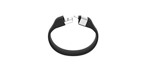 Lumdoo Classic Silicon Lightning Armband mit Datenkabel Ladekabel für Apple iPhone 5, 6S, 6S Plus, iPod nano, touch (18cm) schwarz