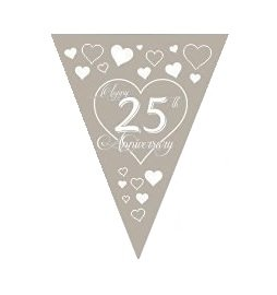 12pcs 25th Wedding Anniversary Silver/White Love Heart Flag Bunting Silver