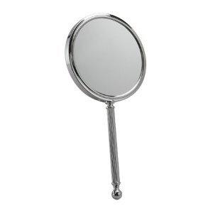 Miroir à main en chrome avec optique 5x - Diamètre 13cm