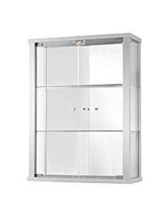 K-Möbel Glashängevitrine Glasvitrine Spiegel Beleuchtung Hängevitrine mit LED Weiß -