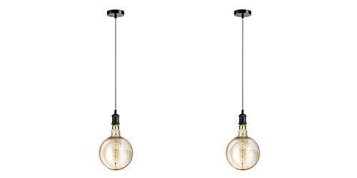 LIFA LIVING Deckenleuchte im 2er Set | Lampenfassung E27 | Hängeleuchte, Pendelleuchte | Industrieller Vintage-Stil | Verstellbares Kabel bis 1,50 cm (Schwarz) -