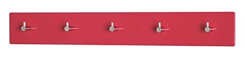 4er Set Garderobenleisten in chrom-rot aus MDF; Maße (BTH) in cm: 57 x 5 x 8