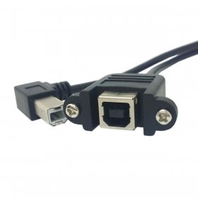 chenyang 90Grad links gewinkelt USB Typ B Stecker zu Buchse Verlängerungskabel mit Schrauben für Panel Mount 50cm