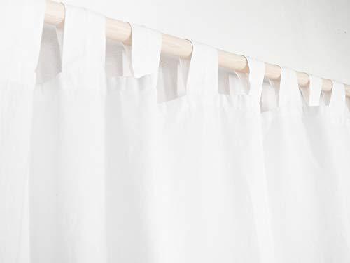 Weiss Schlaufenvorhang aus Leinen. Leinen Vorhang. Leinenvorhänge/Leinengardinen
