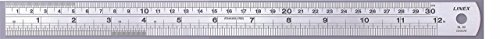 LINEX 100411044 Stahl-Lineal 100 cm lang und 3,5 cm breit mit cm und Zoll-Skala und Umrechnungstabelle auf der Rückseite (von Zoll auf mm)