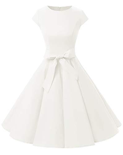 Dressystar Kleid Audrey Hepburn, klassisch, Vintage, 50er 60er Stil Gr. Small, weiß