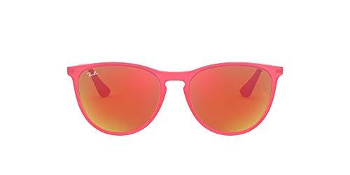 Ray ban junior - 9060s occhiali da sole, bambina, fuchsia fluo trasp rubber