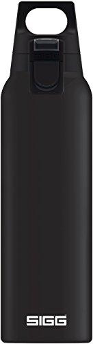 SIGG Hot & Cold ONE Black Thermo Trinkflasche (0.5 L), schadstofffreie und isolierte Trinkflasche, einhändig bedienbare Thermo-Flasche aus Edelstahl -