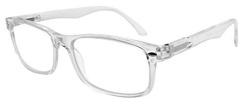 Tboc occhiali da vista lettura presbiopia - graduati +3.50 diottrie montatura trasparente fashion leggeri quadrati da vicino per computer donna e uomo unisex aste con cerniere con molla