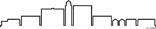 INDIGOS UG - Wandtattoo Wandsticker Wandaufkleber Aufkleber - Wandaufkleber f1302 Skyline Stadt - EL Paso (USA - United States) Design 4-180x34 cm - schwarz - Dekoration Küche Bad Büro Hotel