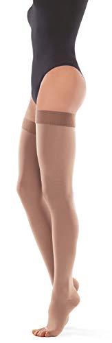 Calze elastiche autoreggenti compressione graduata punta aperta 23-32 mmhg punta aperta small beige