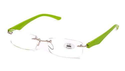 Lesebrille ohne Rahmen, müde Sicht, Graduierung +1.00 bis +4.00, Unisex Brille für Männer und Frauen mit Pasta-Rahmen, Standardscharniere für Lesen, siehe Nahaufnahme +2.5 grün