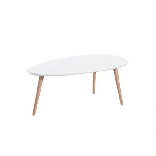 STONE Table basse ovale scandinave blanc laqué - L 88 x l 48 cm