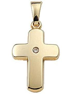 Gold 14 k ( 585 ) Kreuz Anhänger mit Diamant - B. 11,3 mm - H. 14,7 mm