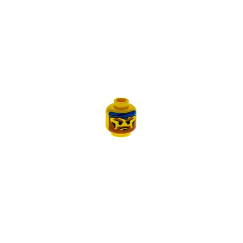 1 x Lego System Kopf Figur Rock Raiders Bandit mit Bart braun grimmiger Blick Bandana Tuch blau für rck002 3626bpx15