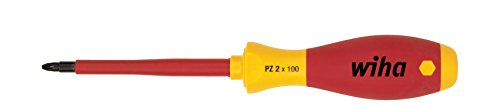 Wiha Schraubendreher SoftFinish® electric Pozidriv (00879) PZ2 x 100 mm  VDE geprüft, stückgeprüft, ergonomischer Griff für kraftvolles Drehen, Allrounder für Elektriker