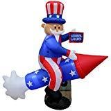BZB Goods Aufblasbarer Onkel Sam auf Rakete, 183 cm lang, Patriotische Unabhängigkeitstag, 4. Juli, aufblasbar, LED, Dekoration für Innen- und Außenbereich, Urlaubsdekorationen
