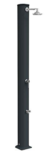 Doccia a riscaldamento solare Arkema A320/7016 Big Jolly Antracite Doccia solare design dritto totalmente in alluminio Trattamento anticorrosione con Verniciata a polvere Serbatoio capacità di 40 litri Altezza 229 cm Peso 15 kg Con miscelatore e lavapiedi