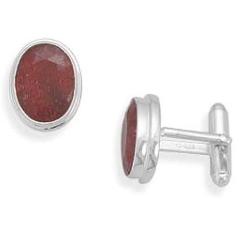Gemelli ovali in argento Sterling 925 e rubino, taglio sfaccettato, misure: 11 x 15 mm - 925 Misure In Argento Sterling
