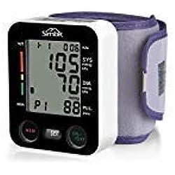 SIMBR Tensiomètre Electronique de Poignet Tensiomètre Automatique Professionnel Portable Mémoire de 180 données stockées Grande Précision Tensiomètre Numérique Pour Dossier de Santé