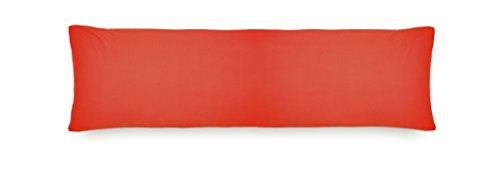Lumaland Comfort Jersey Kissenbezug 2er Set aus 100 % Baumwolle mit Reißverschluss 40 x 145 cm Rot