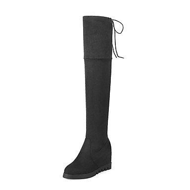 Rtry Femmes Chaussures Spandex Nabuck En Cuir Automne Hiver Mode Bottes De Combat Bottes Coin Talon Plate-forme Bout Rond Sur Les Bottes De Genou Us9.5-10 / Eu41 / Uk7.5-8 / Cn42