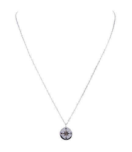 ck, filigrane Halskette mit Kompass Anhänger, und Text Gravur (386-034) ()