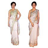 I-Brand Net Saree With Blouse Piece (Isunsa732_White_Free Size)