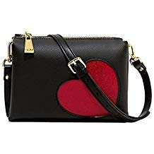 GUM BORSA TRACOLLA TWO 4049 GLOSSY HEART NERO - MADE IN TALY