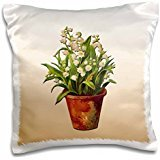 BLN Victorian Fruits and Flowers Collection - White Lily of the Valley Planted in a Terra Cotta Flower Pot - 16x16 inch Pillow Case
