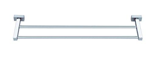 Bagno, motivo: righe-Porta asciugamani Bosio doppio 40 cm, in acciaio INOX, colore cromo