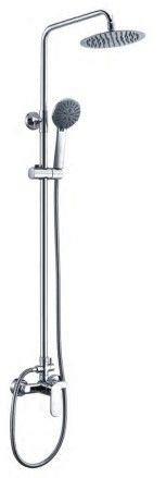 Columna de ducha Salcedo, regulable en altura, acero inoxidable 304, monomando de gran calidad, rociador de 20 centrimetros en acero, flexo de ducha doble grapado, adaptable a duchas y bañeras