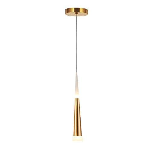 LED Lámpara colgante, STARRYOL 7W Iluminación colgante con decoración moderna, estilo cono, perfecta para sala de estar, restaurante, dormitorio, cafetería, etc. - Dorado