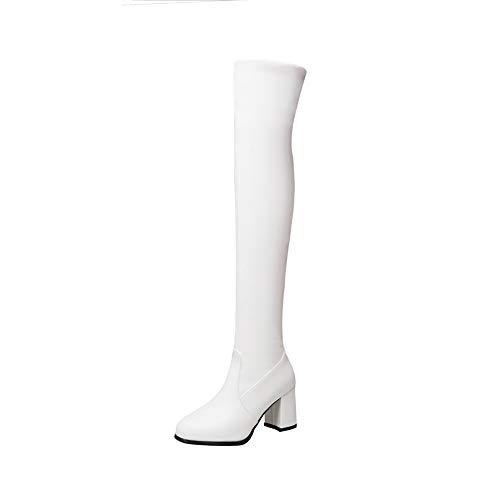 Y2Y Studio Femmes Bottes Cuissardes Simple Talons Confortables Bloc 7cm Thick Heels Bout Rond avec Zip Bottes Chaussures Femmes Hiver