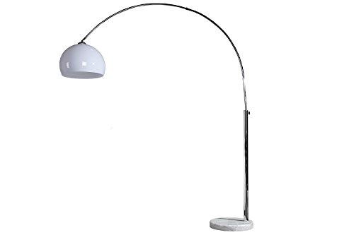 Bogenleuchte LOUNGE DEAL weiß Marmorfuß ausziehbar 185-205cm mit Dimmfunktion Bogenlampe -