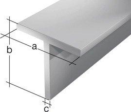GAH.ALBERTS T-Profile 20 x 20 x 1,5 mm, aluminium 2 m 7412, silber eloxiert, 47412 6
