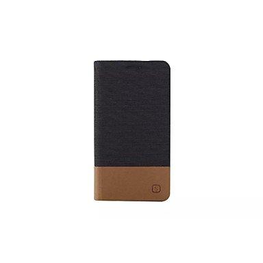 HLY-CASE Gute Leistung Flip Canvas Ledertasche mit Brieftasche Card Slot Inhaber für Samsung Galaxy, Einfach zu bedienen (Farbe : Schwarz, Kompatible Modellen : Galaxy A7)